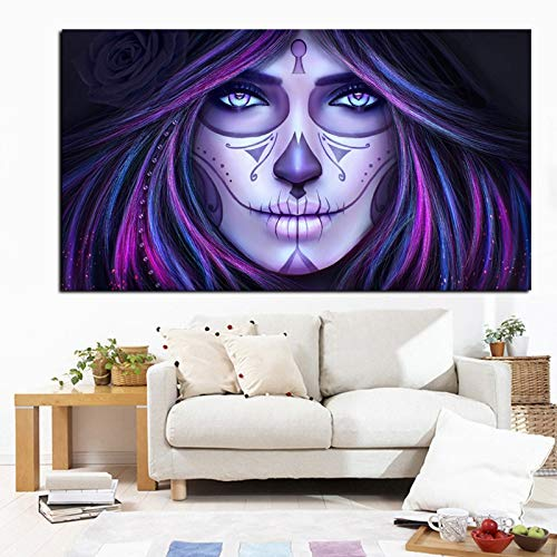 HD wall art print of death day skull tattoo art oil painting on canvas modern wall art picture for kids room living room bedroom frameless decorative painting A10 60x90cm