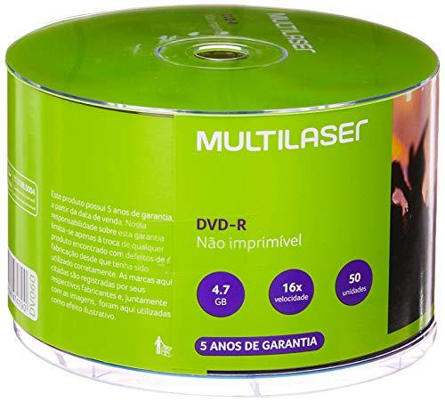 Multilaser DV060, Mídia Dvd-R Shrink Capacidade 4.7Gb 16X, Branco, 50 Unidades