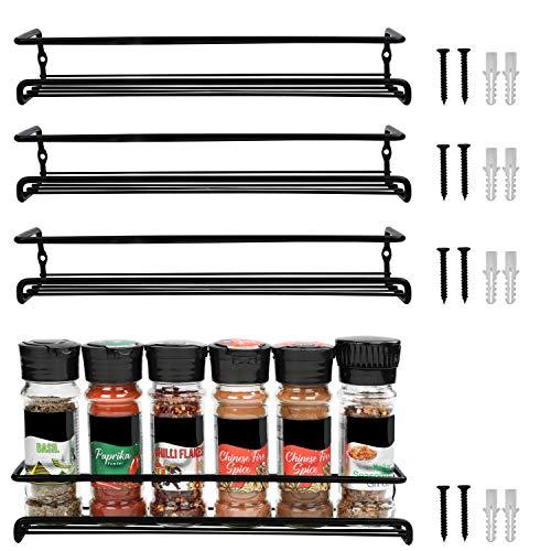 BELLE VOUS Especiero Pared Negro (Pack de 4) Organizador Especias y Hierbas de un Nivel para Colgar de la Pared de la Cocina, Alacena, Despensa, Gabinete – Set Especieros para Armarios