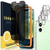UniqueMe [2 Pezzi] Privacy Pellicola Protettiva per iPhone 12 6,1 Vetro Temperato e [3 Pezzi] Pellicola Fotocamera per iPhone 12 6.1 [Facileinstallare][Durezza 9H].