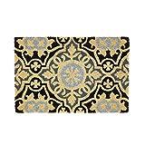 Felpudo Mosaico Antideslizante Negro y Gris de Fibra de Coco de 60x40 cm - LOLAhome