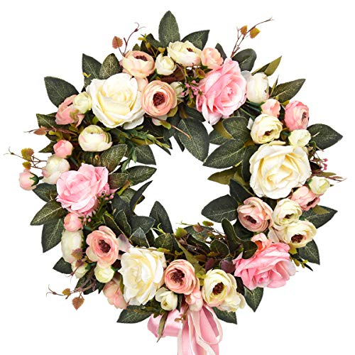 """Sunm Boutique Rose Floral Twig Wreath, 14"""" Handmade Silk Rose Flower Door Wreath with Green Leaves, Vintage Artificial Flowers for Front Door Wedding Wall Home Decor"""