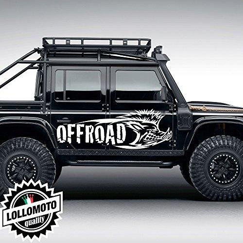 Lollomoto 2X Adesivi Cinghiale Offraod Fuoristrada Fiancate Cofano Jeep Suzuki Offroad 4X4 Adesivi Stickers Caccia Fiancate AUT Decal - Bianco Opaco