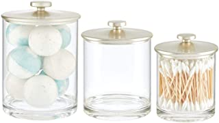 mDesign Modern Round Bathroom Vanity Countertop Storage Organizer Canister Jar Set for Cotton Swabs, Rounds, Balls, Makeup Sponges, Bath Salts, Set of 3, Small/Medium/Large - Clear/Matte Satin