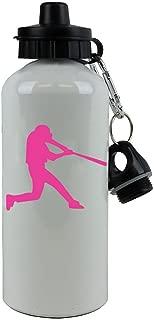 Personalized Custom Baseball/Softball Hitter Aluminum White 20 Ounce Sport Water Bottle Customizable