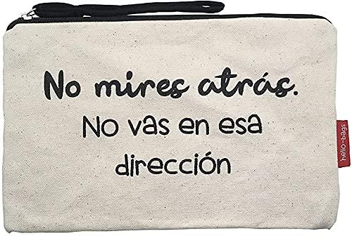 Hello-Bags Bolso Neceser/Cartera de Mano, Algodón 100%, con Cremallera y Forro Interior, Incluye sobre Kraft de Regalo, Blanco, 23 x 15.5 cm