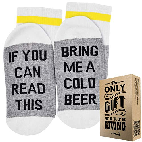 BEER SOCKS + GIFT BOX 'If you can read this bring me a cold Beer' Best fathers...