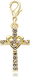 SENFAI Heart with Cross Crystal Personality Charms for Bracelet Pendant Necklace