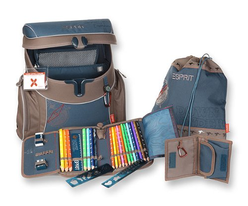 YOUNG GENERATION ESSB 1051 DB SET Esprit Set ErgoFit Down under Schulranzenset, Blue Down under ca. 38 x 35 x 19 cm