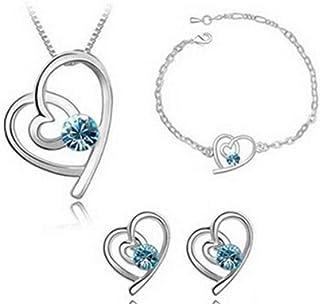 Flyme Fashion Necklace Earrings Bracelet Heart Style Diamond Crystal Elegant Women Jewellery Set of Crystal Pendant Necklace+Earrings+Bracelet