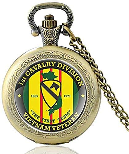 Antike Klassische US 1st Cavalry Division Quarz Taschenuhr Vintage Bronze Vietnam Veteran Halskette Uhren