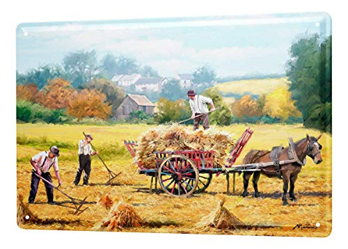 "Vintage Look Reproduction,16""X12""Retro Straw Harvest Field Horses Club Bar Drinking Home Street Living Poster、Best in Metal Sign Retro Home Decoration Vintage Tin Sign Posters for Bar Pub Home"