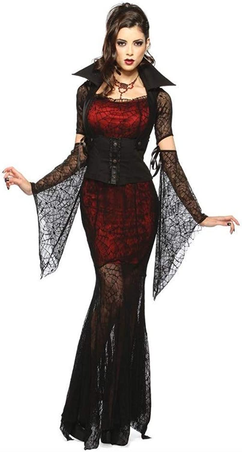 FashionCos1 Transparent Lace Sexy Dress Witch Vampire Masquerade Party Halloween Cosplay Costume Adult Summer Dress (Size   M)