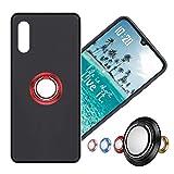Hülle für Alcatel Flash Plus 2 Schutzhülle Etui Matte Oberfläche Design,Weich Silikonhülle Bumper Hülle Alcatel Flash Plus2 Hülle+360°Handy Ringhalter Phone Fingerhalter MEHRWEG,03 Rot