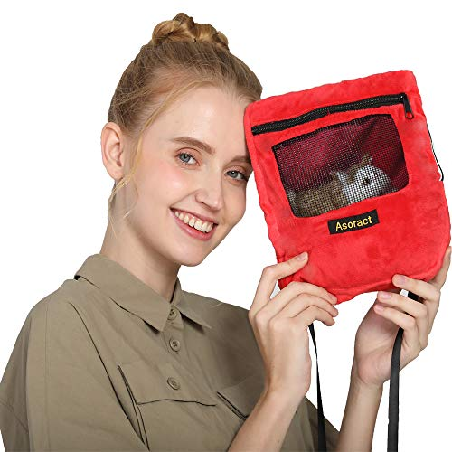 Asoract Hamster Carrier Bag, Carrier Bag Super Soft Coral Fleece,Sugar Glider Bonding Pouch Carry for Sugar Gliders and Other Small Pets
