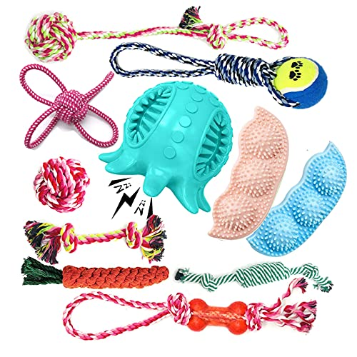 Dog Chew Toys for Puppy Teething:11 Pack Puppies Toys for Boredom 100% Natural Cotton Rope Dog Toys for Aggressive Chewers,Dog Interactive Toys Squeaky Toys IQ Treat Ball for Small Medium Dogs