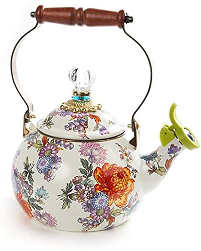 MacKenzie Childs Flower Market 2 Quart Whistling Tea Kettle White
