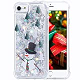 Flocute iPhone 7 Case,iPhone 8 Glitter Christmas Case Bling Sparkle Floating Liquid Soft TPU Cushion Luxury Case for Girls Women Cute Case for iPhone 7 iPhone 8 4.7 Inch (Snowman)