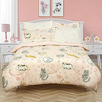 Kidz Mix Sleepy Cats Super Soft Bed in a Full Bag with Reversible Comforter and Sheet Set Pink