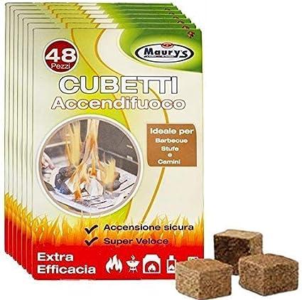 Maurys Cubetti Accendifuoco Ecologico per Camino Stufa E Barbecue 48 Cubetti