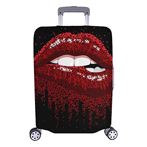 InterestPrint Fashion Sexy Red Lips Biting Sparkles Style Travel Luggage Cover Baggage Suitcase Protector for 26'-28' Luggage