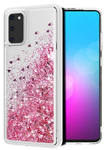 WORLDMOM for Galaxy S20 Case, Double Layer Clear Design Bling Flowing Liquid Floating Sparkle Colorful Glitter Waterfall TPU Protective Phone Cover Case for Samsung Galaxy S20 [6.2 Inch], Rose God