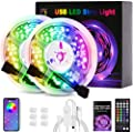 LED Strip Lights, 5050 SMD Bluetooth RGB LED Lights Music Sync Color Changing Bedroom Lights 32.8ft with Remote 44 Keys app Control, USB Strip Lighting, Home Decoration, DIY Decoration, Kitchen