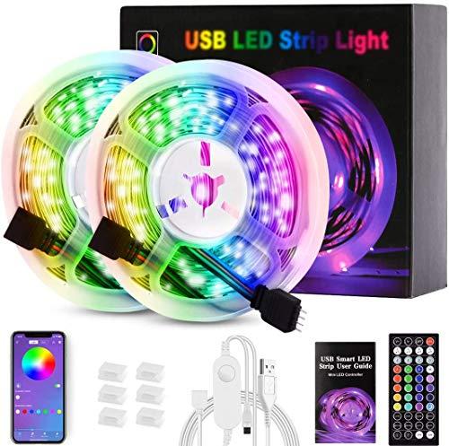 LED Strips 10M, USB LED Streifen RGB Bluetooth Musikalische LED Lichtband Dynamischer Musikmodus mit Mikrofon APP Steuerung Fernbedienung Led lichterkette für Schlafzimmer, Inneneinrichtung, Küche,Bar