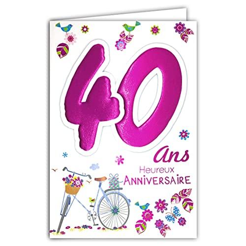 Age Mv 69-2032 Carte Anniversaire 40 ans Femme motif Vélo Cadeau Fleurs Oiseaux