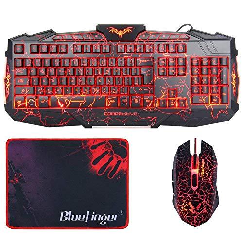 BlueFinger Gaming Keyboard Mouse Headset Combo,USB Wired 3 Color Crack Backlit Keyboard,Blue LED Light Gaming Headset,Gaming Keyboard Set (M500)