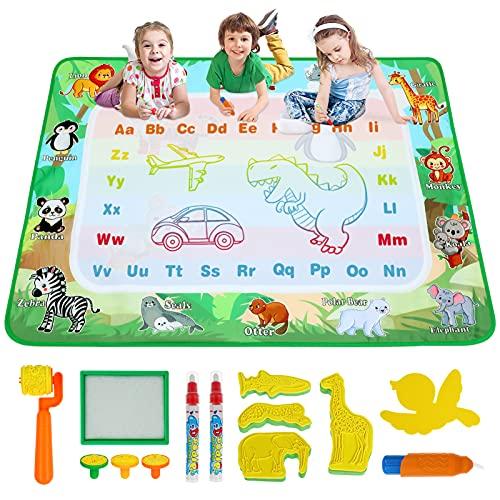 Toyvian Wasser-Doodle-Matte, große Doodle-Zeichenmatte Wasser-Schreib-Malmatte mit Zeichenzubehör für Kinder Lernspielzeug Geschenke (29x39 Zoll)
