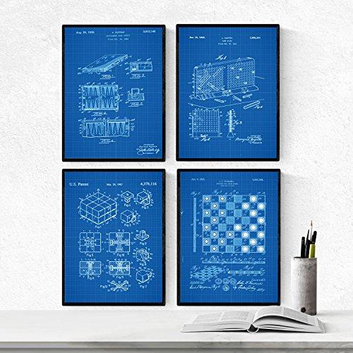 Nacnic Azul - Pack de 4 Láminas con Patentes de Juegos DE Mesa. Set de Posters con inventos y Patentes Antiguas. Elije el Color Que Más te guste. Impreso en Papel de 250 Gramos