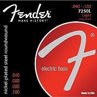 【 並行輸入品 】 Fender (フェンダー) 7250L Nickel Plated Steel Roundwound Long Scale エレクトリックベースギター 弦 - Light