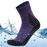 MEIKAN Womens Outdoor Running Gear Socks, 100% Waterproof Neoprene Walking Biking Dry Feet Pro Mountain Socks in Rain Golf Wading Socks Winter Warm Snowproof Running Socks 1 Pair (Purple, Small)