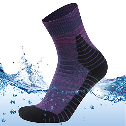 MEIKAN Womens Outdoor Running Gear Socks, 100% Waterproof Neoprene Walking Biking Pro Mountain Socks in Rain 1 Pair (Purple, Small)