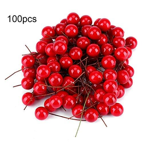 Künstliche Rote Kirschen Weihnachten Beere Dekorationen Holly Berry Hängende Ornamente Urlaub Festival Künstliche Früchte Decor DIY Feiertag (100Pcs)