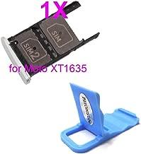 SIM Card Holder Slot Tray Repair Replacement for Motorola Moto Z Play Droid XT1635 + PHONSUN Portable Cellphone Holder (Silver)