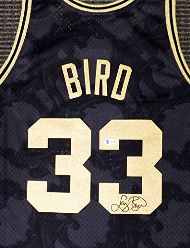 Boston Celtics Larry Bird Autographed Black Mitchell & Ness Gold Toile Swingman Jersey Size XXL Beckett BAS Stock #177717 - Autographed NBA Jerseys