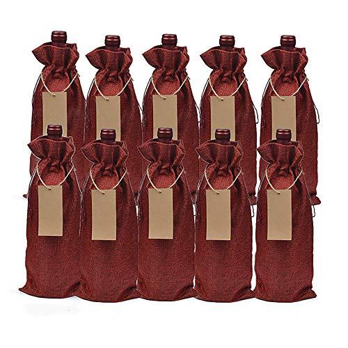 10 StüCk Jute Weinbeutel, 15X35Cm Hessische Weinflasche Geschenkbeutel Mit Kordelzug FüR Blinde Weinverkostung Geeignet FüR Weinsnacks Zuckergeschenkbeutel FüR Freunde Und Verwandte-Rotwein