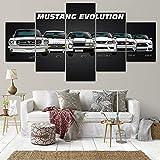 Oeuvre Modulaire Moderne Voiture De Sport Affiche Décoration de La Maison Art Photo 1965 Ford Mustang GT Toile Peinture Art sans Cadre
