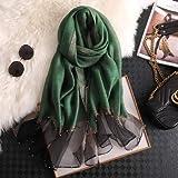 Berrd sciarpa donna lusso summerscarves lady scialle avvolgere hijab foulard bandana femminile pashmina perla gioiello fascia - verde erba