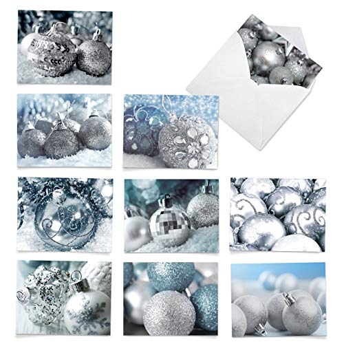 The Best Card Company - 10 Beautiful Christmas Note Cards (4 x 5.12 Inch) - Ornament Photos, Boxed Cards with Envelopes (Not Foil, Sparkled, or 3D) - Visions in Silver M2961