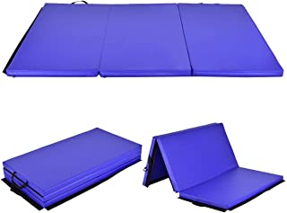 Giantex 4x6 Gymnastics Mat Thick Folding Panel Tumbling Mat with Handles for Gym Fitness Exercise with Hook & Loop Fasteners