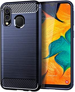 Silicone Case Compatible with Samsung Galaxy A40 Mobile Phone Case for Samsung A40 Protective Cover Brushed Carbon Fiber P...
