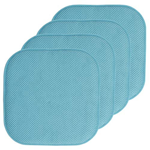 Sweet Home Collection Chair Cushion Memory Foam Pads Honeycomb Pattern Slip Non Skid Rubber Back Rounded Square 16' x 16' Seat Cover, 4 Pack, Teal