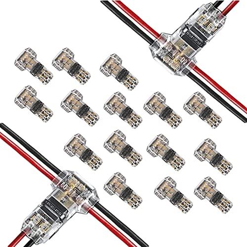 Wire Conector, 15 Paquetes Conector de Cable de Baja Tensión, 2-Pin Conector de Baja Tensión, Resistente al Agua y al Polvo, Sin Pelar, Conexión de Cable Cable 20 - 22 Awg
