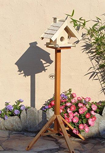 Vogelfutterhaus,BEL-X-VOWA3-natur002 Großes Vogelhäuschen + 5 SITZSTANGEN, KOMPLETT mit Futtersilo + SICHTGLAS für Vorrat PREMIUM Vogelhaus – ideal zur WANDBESTIGUNG – vogelhäuschen, Futterhäuschen WETTERFEST, QUALITÄTS-SCHREINERARBEIT-aus 100% Vollholz, Holz Futterhaus für Vögel, MIT FUTTERSCHACHT Futtervorrat, Vogelfutter-Station Farbe natur, MIT TIEFEM WETTERSCHUTZ-DACH für trockenes Futter - 5