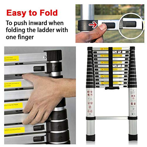 3.8M Telescoping Ladder 12ft Aluminum Multi Purpose Telescopic Extension Ladder One Button Retraction Adjustable(330 pound/150 kg,EN131 ) for Household Clean Garden Party Climb