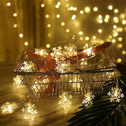 Catena Luminosa,Luci natalizie a forma di fiocco di neve,per Natale,giardino,terrazza,camera da letto,feste,interni ed esterni,luce bianca calda
