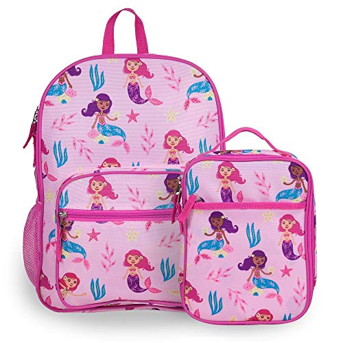 Wildkin Kids Everyday Backpack with Lunch Box Bag Bundle for Boys & Girls, Perfect for Packing School Supplies & Your Favorite Snack, Ideal for School & Travel, BPA-Free, Olive Kids (Groovy Mermaids)